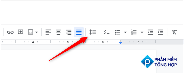 click the line spacing icon in the google docs toolbar