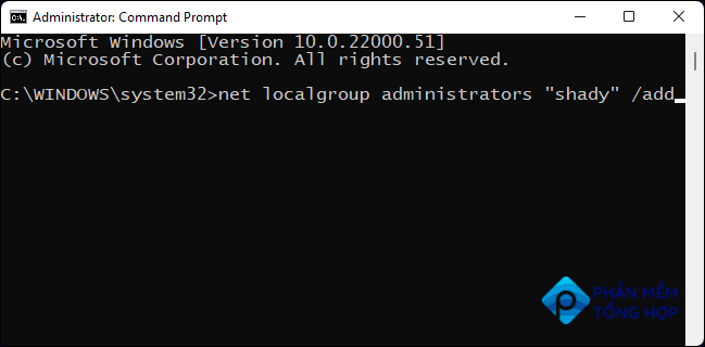 Type Command in Command Prompt to change User account to Administrator on Windows.