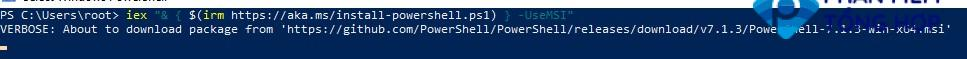 upgrade powershell core 7.1 from command line