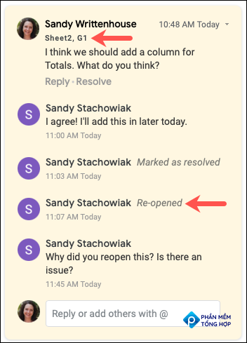 Comment history in the sidebar