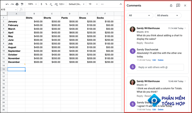 Comments sidebar in Google Sheets