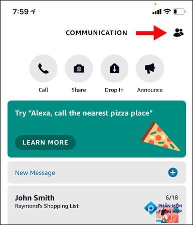 group button on communication screen