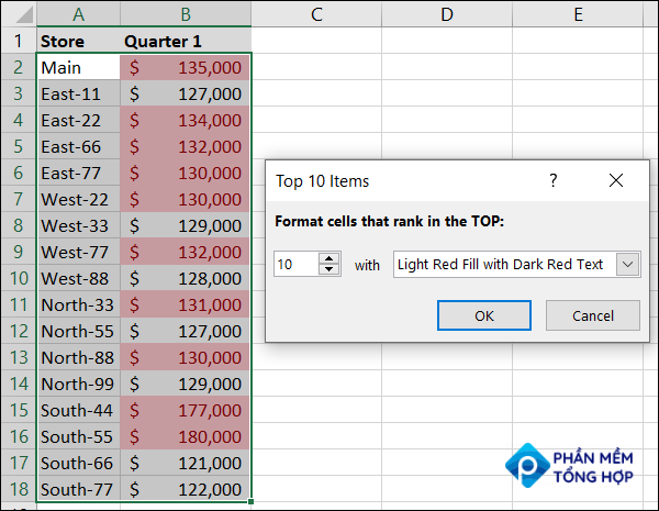 Conditional formatting defaults for Top 10 Items in Excel