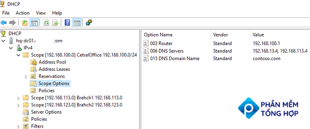 configure dhcp scope options