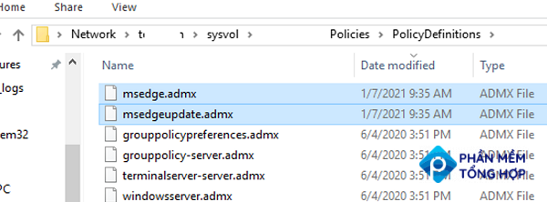 copy edge admx to policydefinitions folder on domain controller