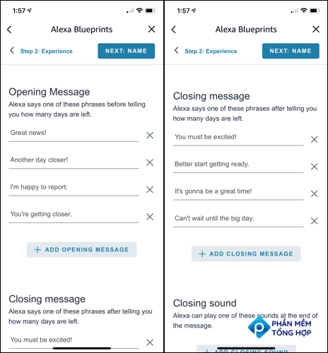 Customize Alexa's opening and closing messages