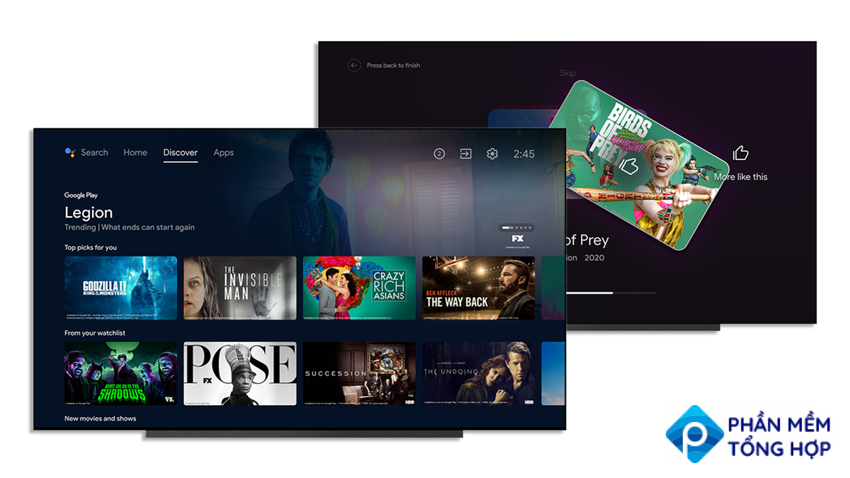 The Discover tab and Improve Your Reccomendations features on Android TV