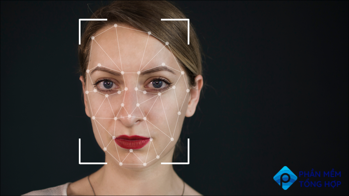 Face of a young woman being digitally mapped