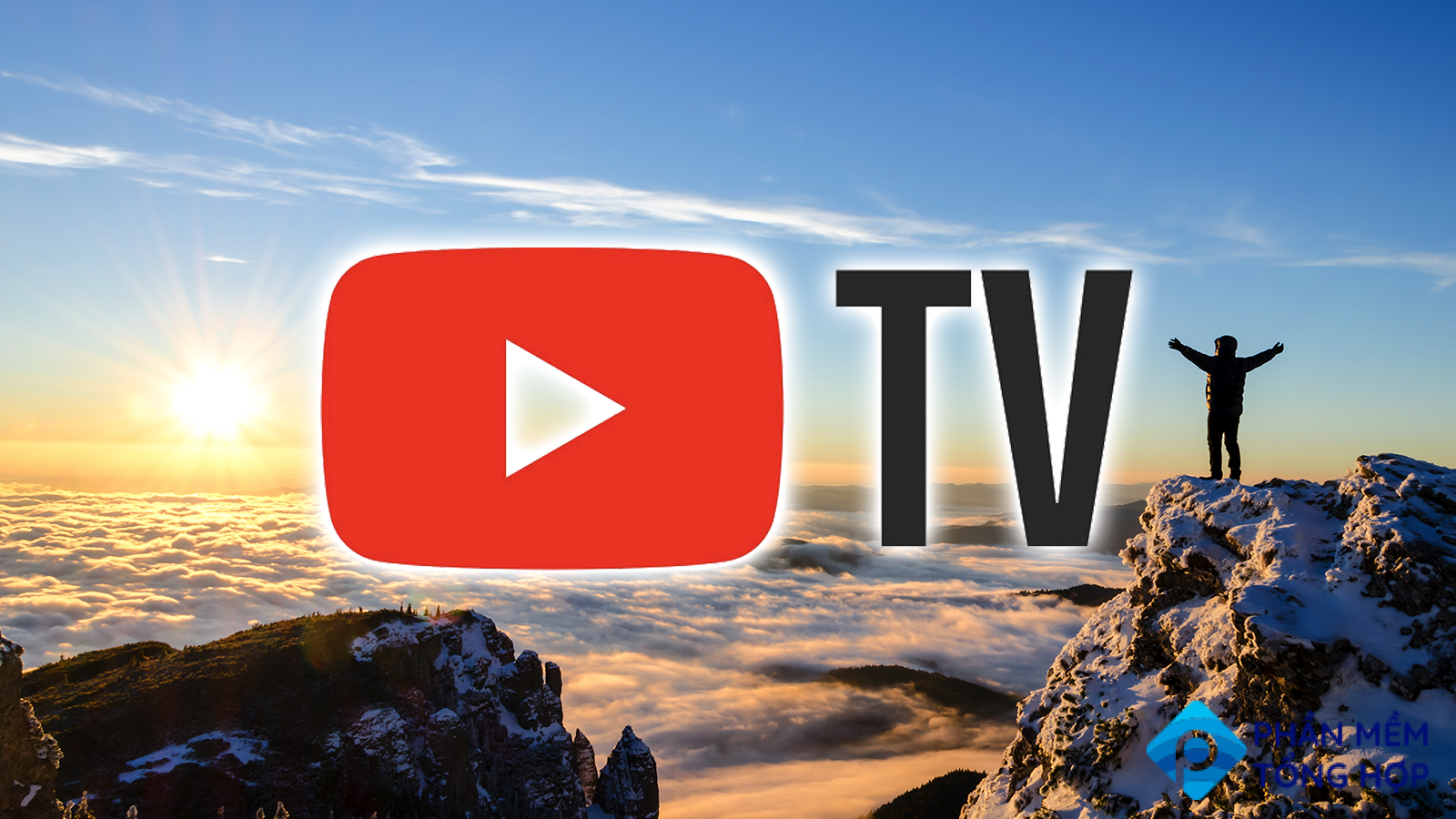 Hiker celebrating success on a mountaintop with YouTube TV logo superimposed over it.
