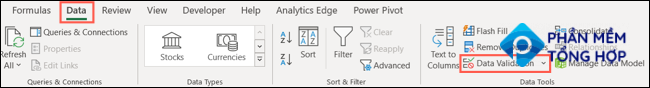 Click Data Validation on the Data tab in Excel