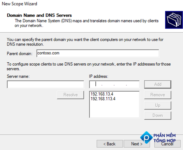 DNS settings for DHCP clients