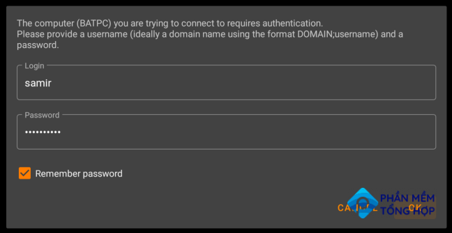 Log in with your shared computer's username and password to let VLC access the shared folderes.