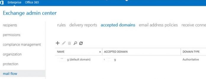 exchange server -> mail flow -> accepted domains