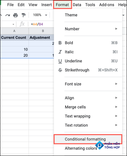 Click Format, Conditional Formatting