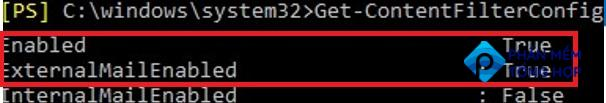 get-ContentFilterConfig enabled powershell