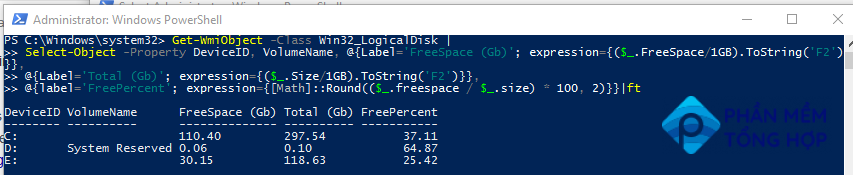 Get disk free space with PowerShell
