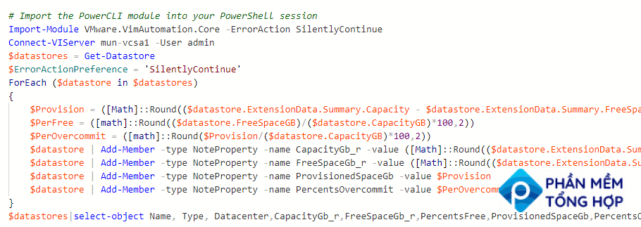 Get free space of all VMWare VMFS Datastores with PowerCLI