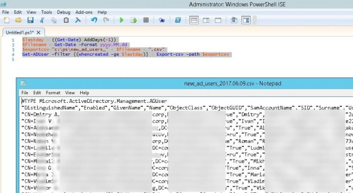 getting list of recently created accounts in the active directory