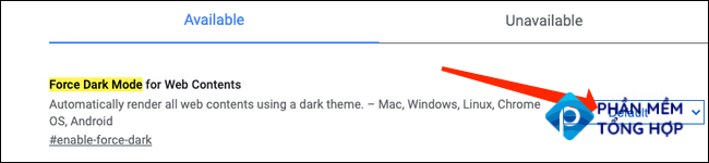 """In the search results, you will see """"Force Dark Mode For Web Contents."""""""