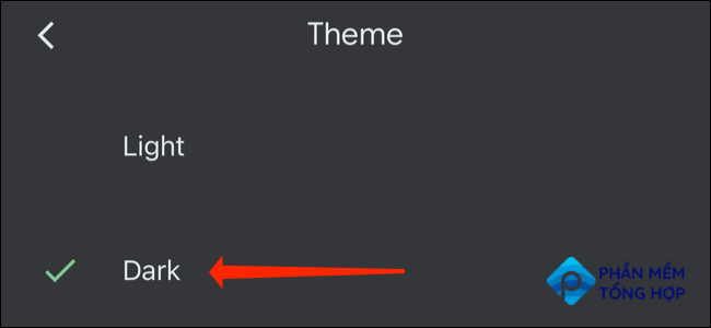 """Tap """"Dark"""" under Theme settings to switch to dark mode in Google Sheets on your smartphone."""