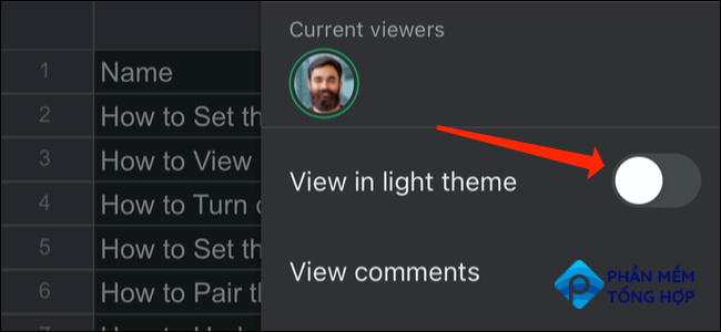 """Select the switch next to """"View In Light Theme"""" once more."""