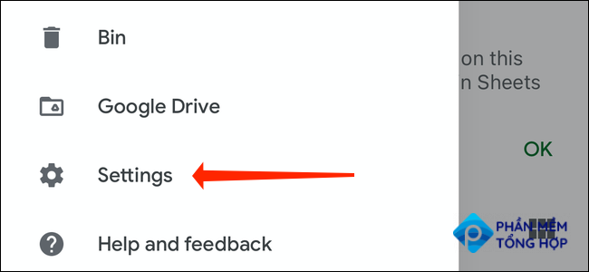 """To enable dark mode from the three-line menu in Google Sheets, select """"Settings."""""""