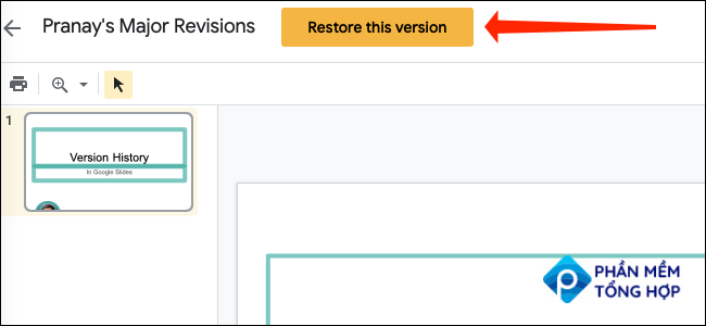"""Clicking the yellow """"Restore This Version"""" button at the top of the page in Google Slides, right next to the file name."""