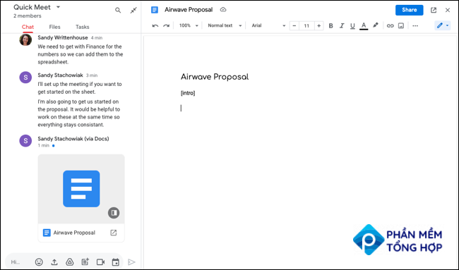 Google Docs new document in Google Chat