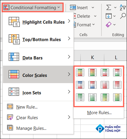 On the Home tab, click Conditional Formatting, Color Scales