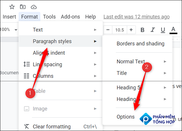 Hover your cursor over Paragraph Style and click Options.