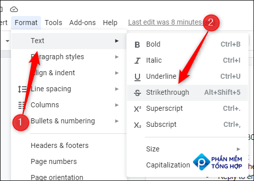 """Hover your mouse over """"Text"""" and click """"Strikethrough."""""""