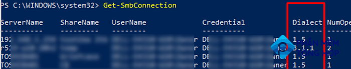 How to find out what SMB dialect is in use using Get-SmbConnection cmdlet