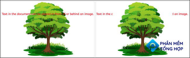 Image behind and in front of text in Google Docs