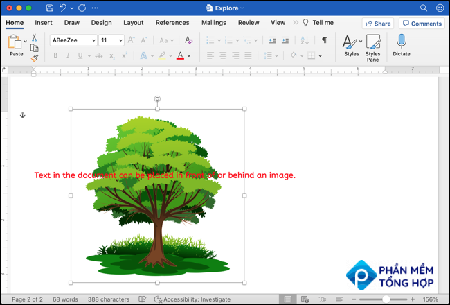 Image behind text from Google Docs to Word