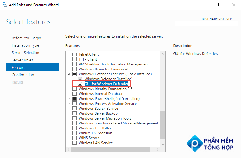 Install Windows feature - GUI for Windows Defender