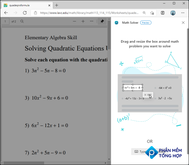 """When the """"Math Solver"""" opens on the right side, it will prompt you to clip a formula using the selection tool to cover the relevant text."""