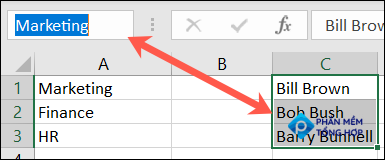 Name a cell group in Excel