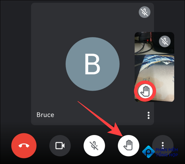 raise hand button turns white and raised hand icon appears in video preview
