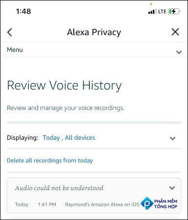 review voice history section in Alexa app.