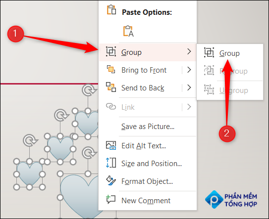 """Right-click the object, hover over """"Group"""" in the context menu, and then select """"Group"""" from the sub-menu."""
