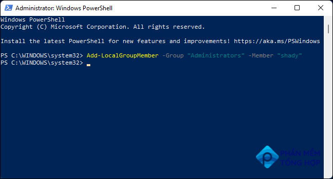 Run Command in Windows PowerShell to Change User to Administrator.