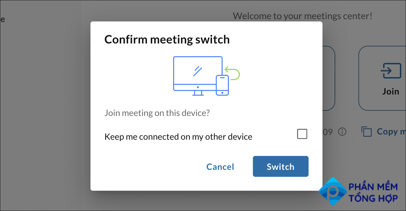 Confirm the switch to another device for your meeting by clicking switch.