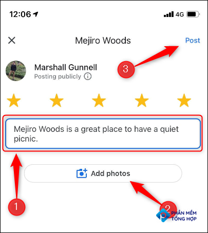 Screen that allows you to enter review details