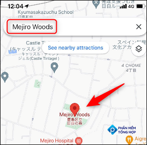 Search for a location in the Google Maps app