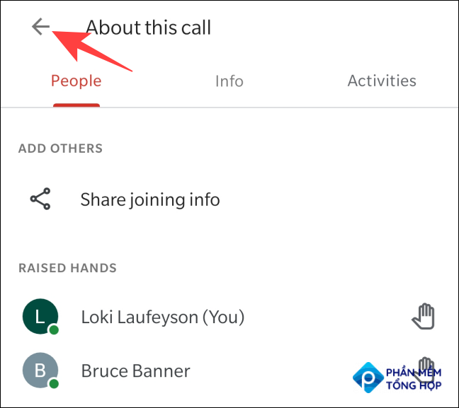 """Tap the arrow next to """"About this call"""" to close the """"People"""" menu."""