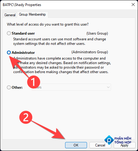 """Select """"Administrator"""" and choose the """"OK"""" button."""