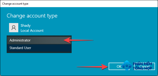 """From the ''Change Account Type"""" window, use the drop-down for the """"Account Type"""" to pick """"Administrator."""" Press the """"OK"""" button when done."""