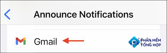 """In the """"Announce Notifications"""" section, choose the app where you want to hear notifications."""