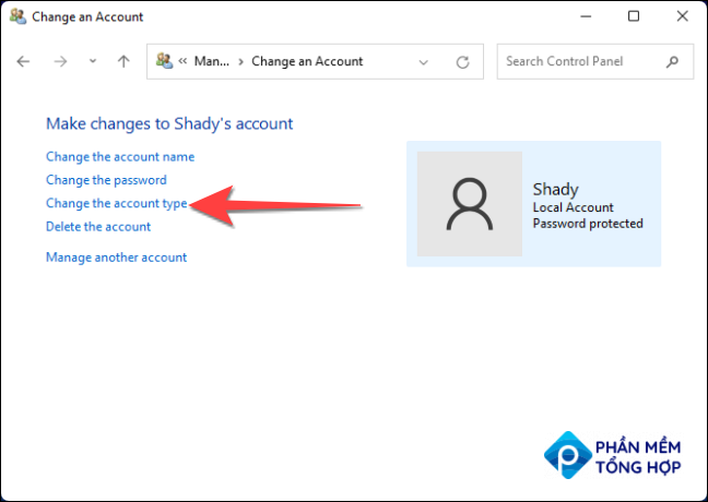 """Then, select """"change account type."""""""