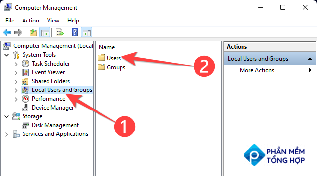 """From the """"Computer Management"""" window, select """"Local Users and Groups"""" from the left column and """"Users"""" from the middle column."""